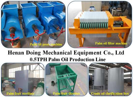 Two ways of mini capacity palm oil production process machine