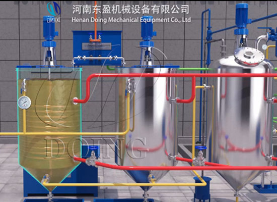 Small scale palm oil refining machine 3D animation video