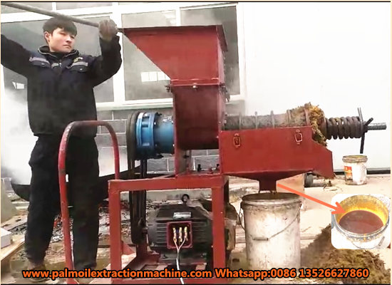 Small scale palm oil expeller machine can be powered by motor or diesel engine