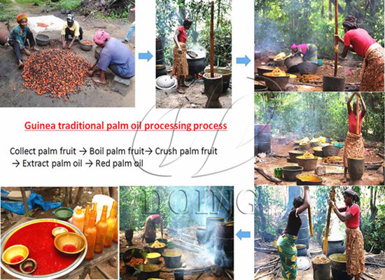 Traditional palm oil processing in rural Guinea