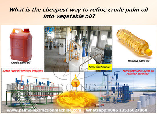 What is the cheapest way to refine crude palm oil into vegetable oil?