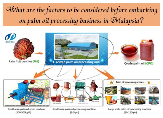 What are the factors to be considered before embarking on palm oil processing business in Malaysia?