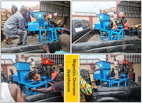 Nigerian customer directly buy small scale palm oil press machine from local overseas warehouses