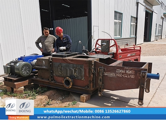 DOING Company will test the operation situation of 10tph double screw palm oil press machine at the factory