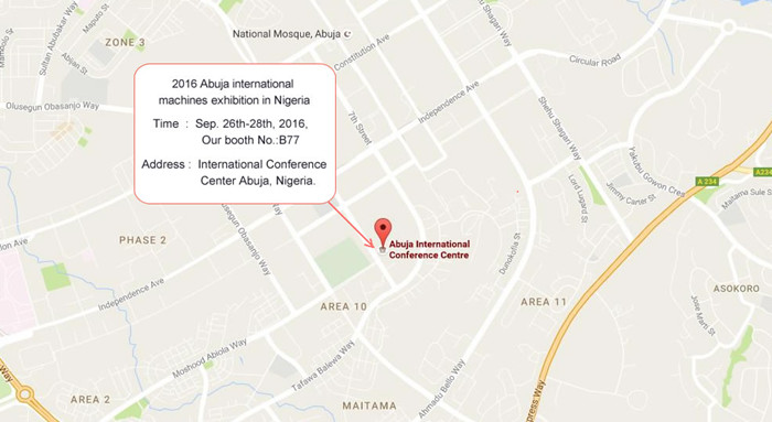 2016 Abuja international agricultural machines exhibition in Nigeria map